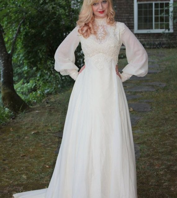 Hand Crafted Vintage 1960s 70s Wedding Dress In Silk Chiffon And