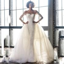 High Quality Wedding Dresses Removable Skirt