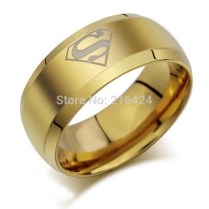 Hot Selling Superman Print Gold Titanium Steel Rings Men's Wedding