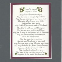 Irish Wedding Blessing Personalized Wedding Anniversary Gift