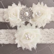 Ivory Cream Snowflake Wedding Garter Set, Winter Wedding Garter