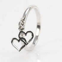 James Avery Sterling Silver Double Heart Charm Ring