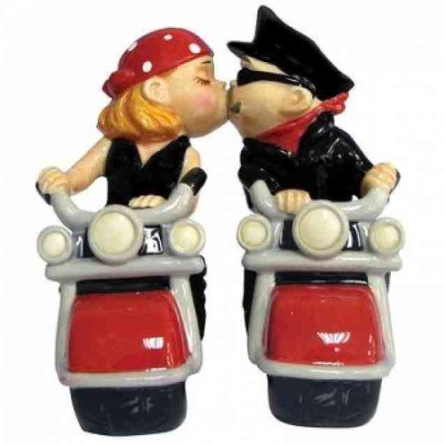 Kissing Bikers Motorcycle Wedding Cake Topper Figurine