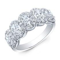 Modern Style Oval Diamond Halo Wedding Band