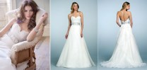 Neckline Silk Wedding Dress