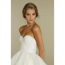 Net And Taffeta Strapless Ball Gown Layered Wedding Dress