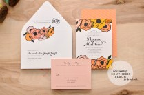 New At Smitten Southern Peach Wedding Invitation