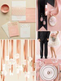 Peach And Ivory Wedding Decor, Flowers And Wedding Invitations