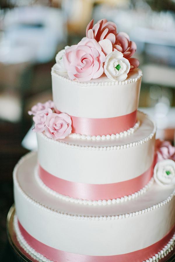 Pink Ribbon Wedding Cake
