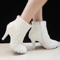 Popular White Winter Wedding Boots