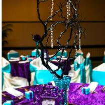 Purple And Turquoise Wedding Tablescape