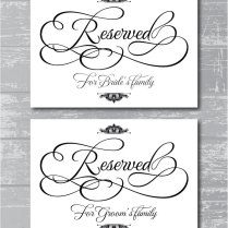 Reserved For Family Signs 5x7 Diy Wedding By Creativepapier