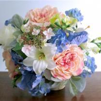 Silk Bridal Bouquet, Blush Pink, Light Blue, Green, And Ivory