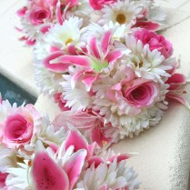 Stargazer Lily & Daisy Bridal Bouquets Made With Silk Flowers
