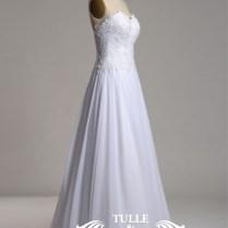 Strapless Lace Bodice Chiffon Skirt Backless Beach Wedding Dress