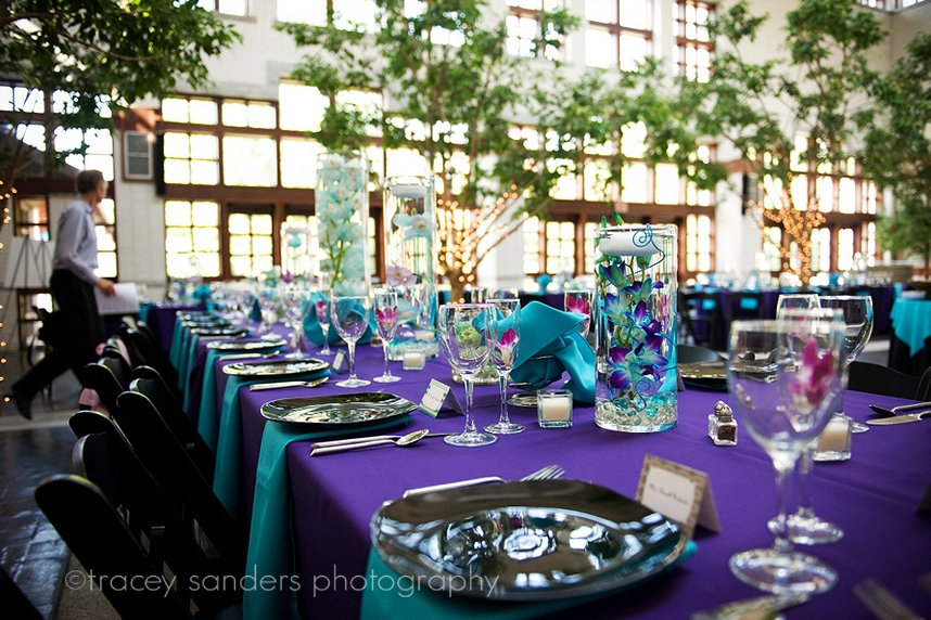 Purple And Turquoise Wedding Centerpieces