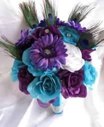 Wedding Bouquet Bridal Silk Flowers Turquoise Purple Plum Peacock