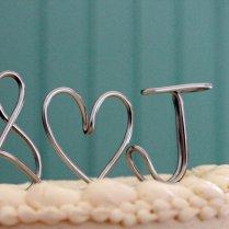 Wedding Cake Topper Monogram Silver