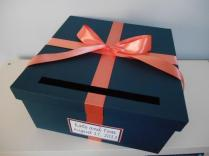 Wedding Card Box Navy With Coral You Can Customize Colors Large 14