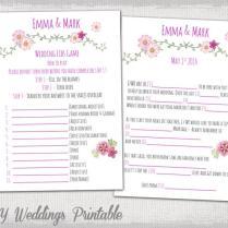 Wedding Mad Libs Template Pink Wedding Libs Printable Guest Card