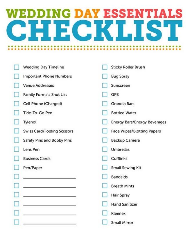 Wedding Decoration Checklist