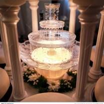 Wedding Reception In Restaurant Wine Fountain Stock Photo