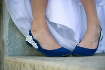 Wedding Shoes Blue Wedding Flats Ballet Flats With Ivory