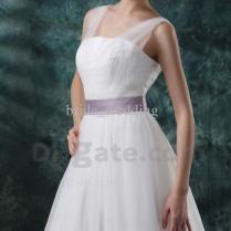White A Line Wedding Dresses V Neck V Back Sheer Tulle Pleats