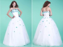 White Wedding Dress With Blue Flowers