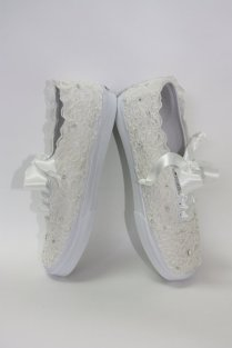 Women's White Or Ivory Sparkly Glitter Converse 4 Bride Wedding
