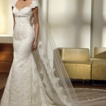 2012 Mermaid Cap Sleeve Lace Wedding Dress Sexy Bridal Gown