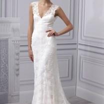 2013 Wedding Dress Monique Lhuillier Bridal Gown Simple Lace V Neck
