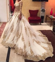 2016 Indian Two Pieces Wedding Dresses White Gold Applique Luxury