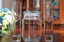 3 Piece Personalized Engraved Unity Sand Ceremony Set, 2 Pouring