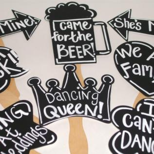 8 Chalkboard Photo Booth Props