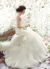 Aliexpress Com Buy Simple Lace Frill Wedding Dress With Belt