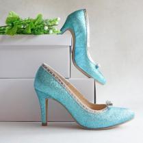 Aqua Blue Glitter Wedding Shoe With Silver Bow, Turquoise Gleam