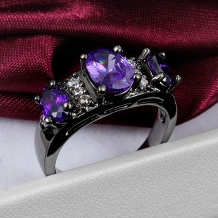 Black And Purple Wedding Rings For Women