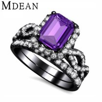Black Wedding Ring With Purple Diamond