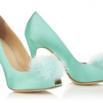 Blue Satin Wedding Shoes With Feather Pom Pom