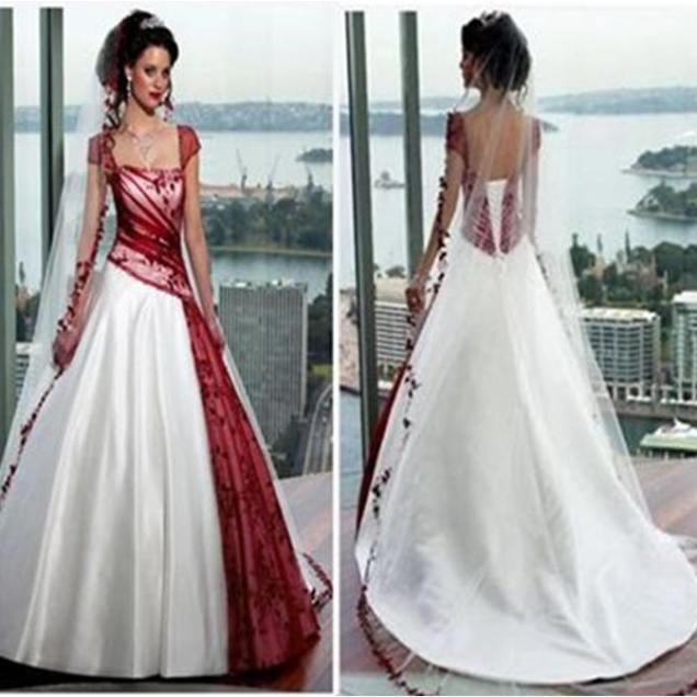 Bridal Gowns With Color Red And White Wedding Dress With Cap