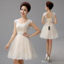 Champagne Short Wedding Dresses The Bride Sexy Lace Wedding Dress