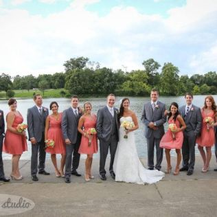 Coral And Grey Wedding Party