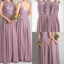Dusty Mauve Bridesmaid Dresses For Weddings 2017 Long Cheap Lace