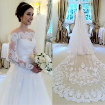 Elegant Lace Tulle White 2017 Wedding Dress Long Sleeve Off