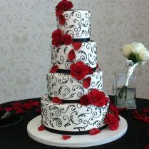 Elegant Red, Black And White Wedding Cake Event And Photo By Www