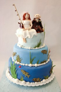 Fishing Theme Wedding Cake