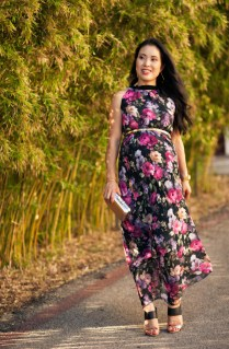 Floral Pleated Maxi {maternity Fall Wedding Guest Outfit}