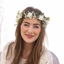 Flower Crown Of Ivory Rose And Green Fern And Babies Breath Boho