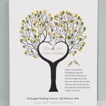 Golden Wedding Anniversary Fingerprint Canvas By Lisa Marie